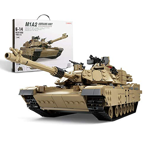 Feleph Military M1A2 Tank Model Kit with 5 Soldier Figures, WW2 Army Tank Custom Vehicles Set 1:28, 2 in 1 Building Bricks Toys for Adults Kids