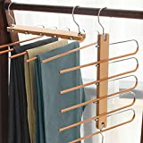 ERONE Pants Rack Hangers,Space Saving 5 Layers Jeans Trousers Saver,Stainless Steel Non-Slip Multi Clothes Organizer for Scarf Ties for Scarf Tie Adjustable