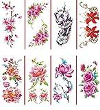 8 hojas grandes tatuajes temporales pegatina tatuajes falsos para mujeres niñas modelos, maquillaje impermeable de arte corporal de larga duración sexy tatuajes realistas del brazo-rosa, flores,