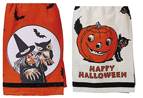 PBK Vintage Style Happy Halloween Kitchen Towel Bundle of 2, Witch with Owl and Black Cat with Pumpkin