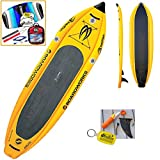 2017 Boardworks Badfish MCIT 10-6 (10' 6') Yellow Inflatable Stand Up Paddle Board SUP + Kite Bundle (5 Items) Incl: CX 1.5M Foil Kite + WindBone Kitesurf Lifestyle Decals + WBK Koozie + WBK Key Chain