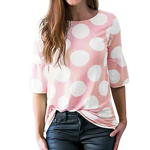 QinMM Camiseta con Manga de Lunares para Mujer, Verano Tops Blusa Camisas (Rosa, XL)