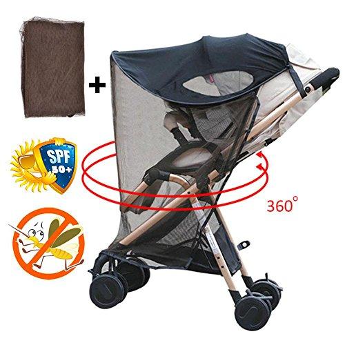 Universelles Verstellbares Sonnenschutzdach Für Kinderwagen Mit Moskitonetz, Schwarz