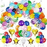 Unisun Kit de guirnalda de arco de globos, 123 piezas de decoración de fiesta de arcoíris, globos de confeti de papel de aluminio para carnaval, bodas, cumpleaños, baby shower, aniversario, fiesta