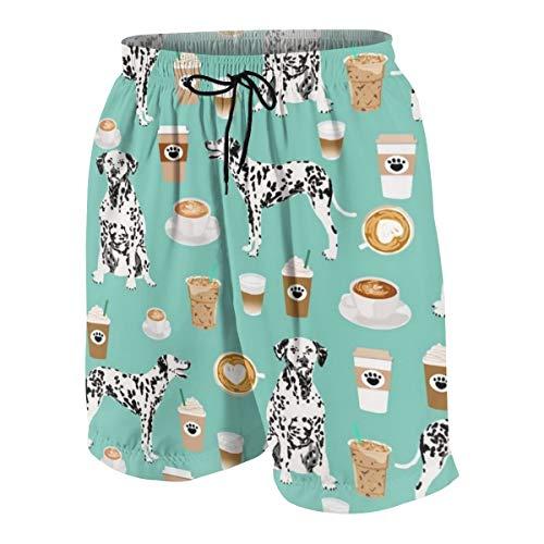 DPC9D373 Men's Beach Shorts Swim Trunks Quick Dry Bathing Suit (Dalmatians Cute Mint Coffee Best Dalmatian Dog )