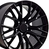 OE Wheels LLC 17 Inch Fit Corvette Camaro C7 Z06 Style Satin Black 17x9.5 Rims Hollander 5734 SET
