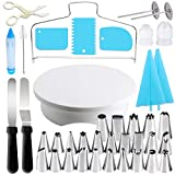 Cake Decorating Equipment, Gyvazla Cake Decorating Turntable, Cupcake Decorating Kit Supplies Rotating Turntable, Coupler, Frosting, Piping Bags and Tips Set, Icing Spatula, Pastry Tool, Cake Scrapers