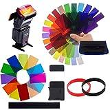 Filtros de Colores para Focos,OSUTER 32PCS Filtro de Gel de Plástico Filtros de Colores Transparentes para Flash Speedlite