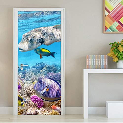 Door stickers door decals, Underwater World Coral Fish Modern Living Room Bedroom Bathroom Door Mural Wall Sticker Waterproof Self-adhesive Wallpaper