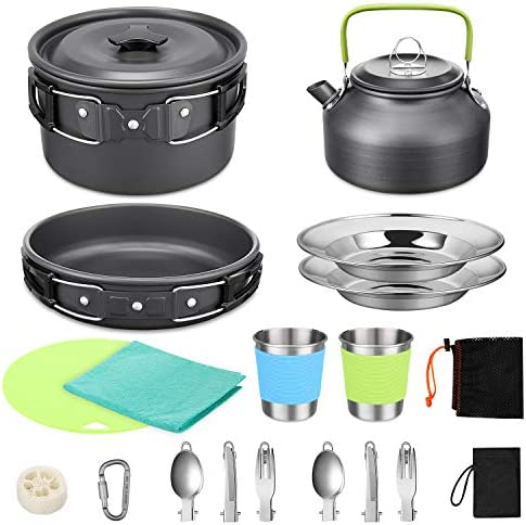G4Free 18PCS Camping Cookware Mess Kit Non Stick Pot and Pan Set with Kettle Stainless Steel product image