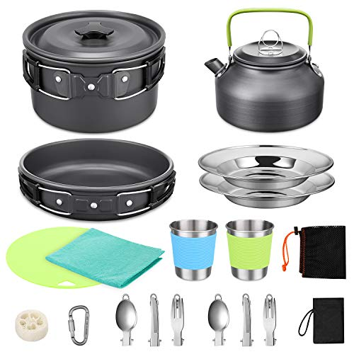 G4Free 18PCS Camping Cookware Mess Kit Non-Stick Pot and Pan Set with Kettle Stainless Steel Cups Plates Forks Knives Spoons Lightweight for Hiking Backpacking Cooking Picnic