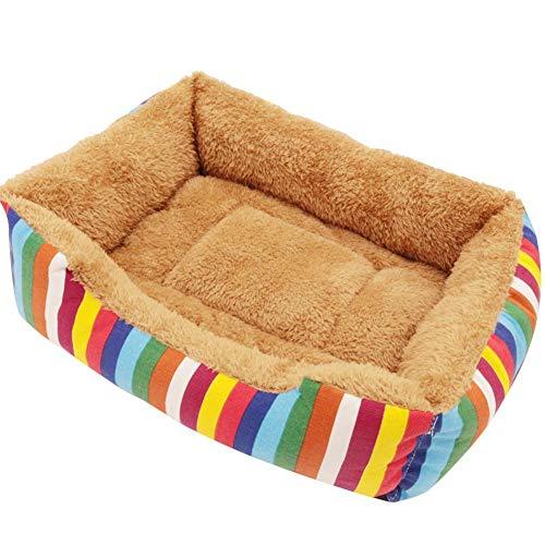 Hondenmand, kleurrijk canvas huisdierbed, hondenkussen, hondenbed, zachte kat mand dier, sofa, vuilnisemmer, Deluxe, uitneembaar warm hondenbed