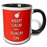 3dRose Keep calm and teach on Mug, 11 oz, Black