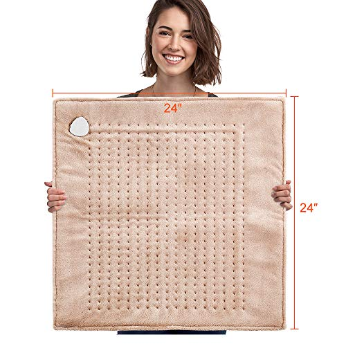 XXXL Electric Heating Pad, Ultra-Wide 24' x 24' King Size Heating Wrap, Foot Warmer, Moist and Dry Option with 2 Hours Auto Shut Off for Pain Relief, 3 Settings, Relax at Home Light Brown