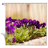 happygoluck1y Blumen Mauve Moderne Duschvorhänge Stoff Dekorativ Wasserdicht für Badezimmer Dekor 182,9 cm lang mit Haken