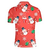 HUGS IDEA Modern Men's Golf Shirts Merry Christmas Snowman Design Short Sleeves Sport Fashion T-Shirt