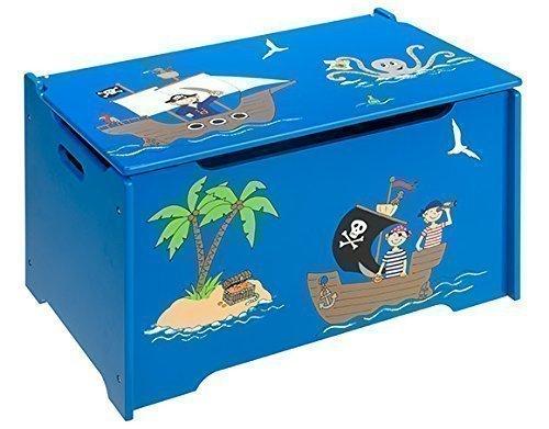 4uniq Kinderspielzeugtruhe Pirat Holzkiste Truhe Spielzeugkiste Kindermöbel Box