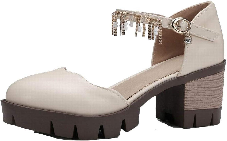 WeenFashion Women's Kitten-Heels Solid Buckle Pu Closed-Toe Sandals, AMGLX010287