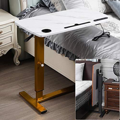 CHOUE Kohlenstoffstahl Laptoptisch Höhenverstellbar mit Eichenholzplatte,Höhenverstellbar, Abschließbare Rollen,Tisch Für Laptop für Schlafsofa, Mobiler Nachttisch