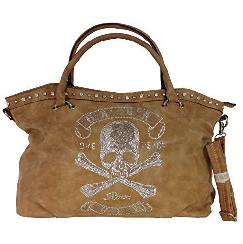 TOTENKOPF skull Hand Tasche Schultertasche Umhängetasche Beuteltasche Shopper XL (Khaki (verwaschen))