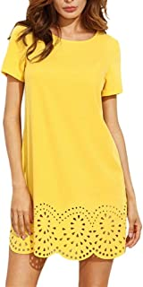 Woko Summer Party Dress Elegant Yellow Short Sleeve Mini Casual Woman Party Night Sexy Dress Casual Ladies Dresses