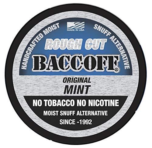 BaccOff, Original Mint Rough Cut, Premium Tobacco Free, Nicotine Free Snuff Alternative (1 Can)