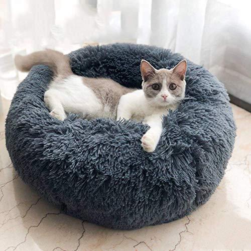 Miaosss: het luxe bed voor huisdieren is geschikt voor kleine en middelgrote honden en katten. Mooi hoofdkussen. Rond bed voor huisdieren. 50cm Grijs