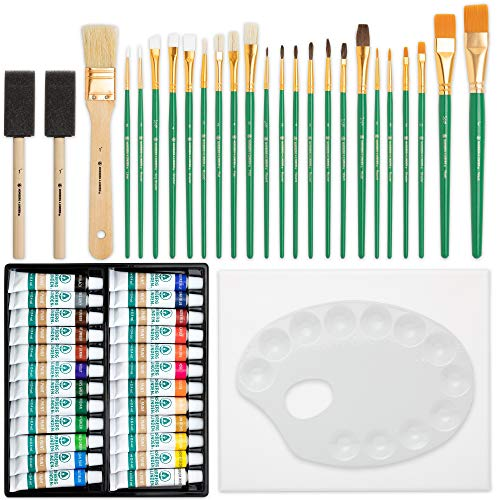Norberg & Linden XXL Oil Paint Set - 24 Paints, 25 Brushes, 1 Canvas, and Art Palette - Oil Painting Supplies for Kids and Adults, Paint Supplies