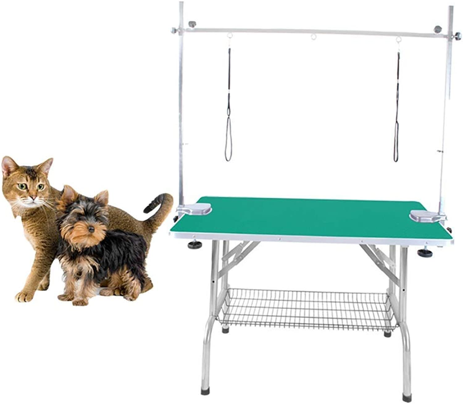 MC.PIG Dog Grooming Table Large Folding Pet Dog Grooming Table Arm & Noose & Shelf HeavyDuty 100KG Capacity Stainless Steel Dog Cat Grooming Table (color   Green)