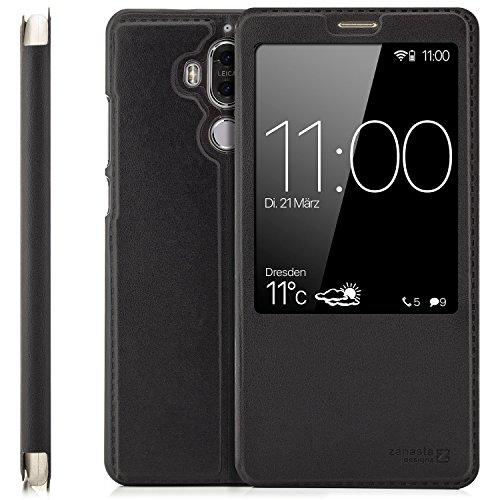 Preisvergleich Produktbild zanasta Tasche kompatibel mit Huawei Mate 9 (MHA-L09 & MHA-L29) Case Schutzhülle Flip View Cover mit Fenster und Kameraschutz / Schwarz