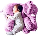 MJTP Mignon Doux Peluche Éléphant Oreiller pour Bébé Peluche Jouets Éléphant Coussin Anniversaire Cadeau (Violet)