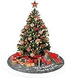 Anyingkai Falda de Árbol de Navidad,Pie de Árbol de Navidad,Pies de Árbol de Navidad,Felpa Base de Árbol de Navidad,Falda de Árbol de Navidad Rojo (Blanquecino, 90cm)