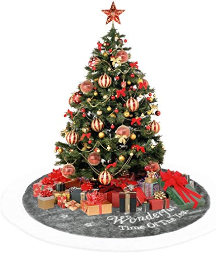 Anyingkai Base Albero Natale Peluches,Gonna Albero di Natale,Copri Base Albero Natale,Copri Base Albero,Finta Pelliccia Albero di Natale,Christmas Tree Skirt (Bianco, 90cm)