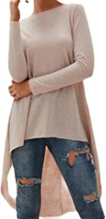 Loyomobak Women's Top Fashion Long Sleeve Baggy Solid Color High Low Tee Shirts Blouse