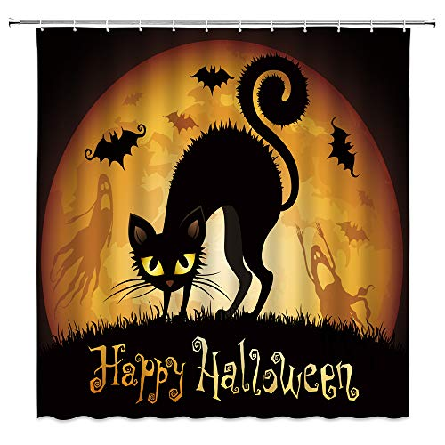 AMHNF Halloween-Duschvorhang mit schwarzer Katze, Horror, Hexe, Katze, Geist, Orange, Vollmond, Fledermaus, gruselig, Happy Halloween, Badezimmerdekoration, Stoffvorhang mit 12 Haken, 178 x 178 cm