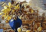 FBDBGRF Pintar por Número Fruta De Hoja para Adultos Y Niños DIY Kit De Regalo De Pintura Al Óleo con Juego De Pintura Digital para Decoración del Hogar Lienzos para Pintar