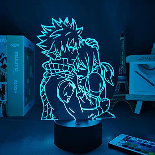Luz nocturna 3D con ilusión de Natsu Dragneel and Erza Scarlet Anime 3D lámpara Fairy Tail LED Night Light para niños, decoración de Navidad, cumpleaños, regalo, manga, lámpara de mesa de 7 colores