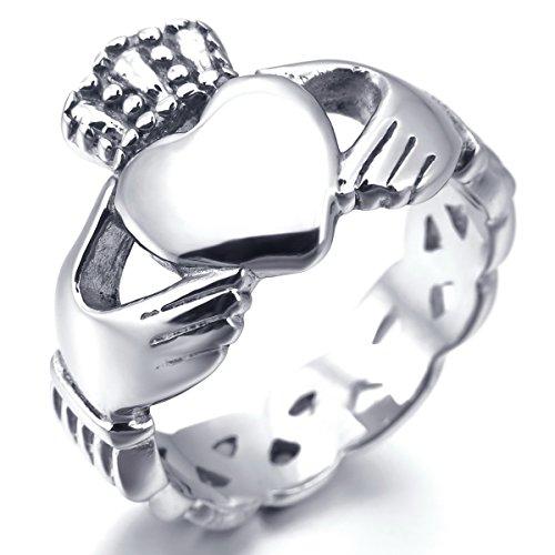 Anillo Acero Inoxidable - Plata Nudo Celta Irlandesa Amistad Amor Claddagh irlandés Corazón Heart Real Rey Corona Talla Tamaño 12