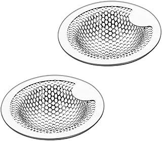 洗面器排水口ネット 洗面台 パンチング 排水口ゴミ受け 304ステンレス鋼 排水口サイズ:3.5-4.5cm (2個セット)