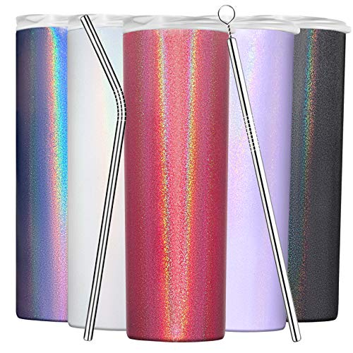 JLuck 20oz Rose Gold Glitter Skinny Tumbler-Keeps Hot or Cold for Ice Coffee,Water-Double Wall Powder Coated Travel Mug for Woman and Men
