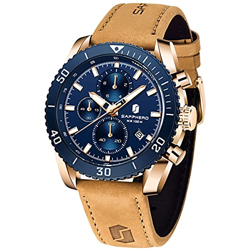 Relojes Hombre SAPPHERO 100m Impermeable Cuarzo Cronógrafo Calendario Luminoso Relojes Business Casual Reloj de Pulsera