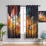 Fantasy Art - Cortinas de bloqueo de luz para sala de estar, hombre en un barco, nube de nebulosa flotante, fondo psicodélico, uso diario, multicolor de 52 x 63 pulgadas