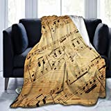 FeHuew Retro Piano Music Score Flannel Fleece Throw Blanket 50x60 inch Living Room/Bedroom/Sofa Couch Warm Soft Bed Blanket for Kids Adults