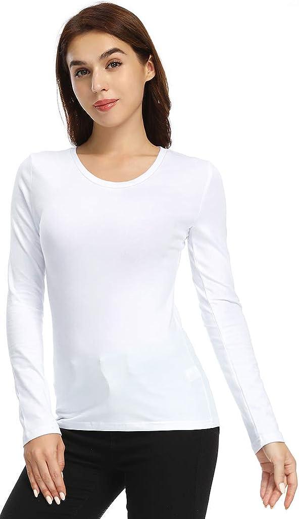 GUBUYI Womens Long Sleeve Crew Neck T-Shirt Basic Solid Slim Fit Cotton Tops