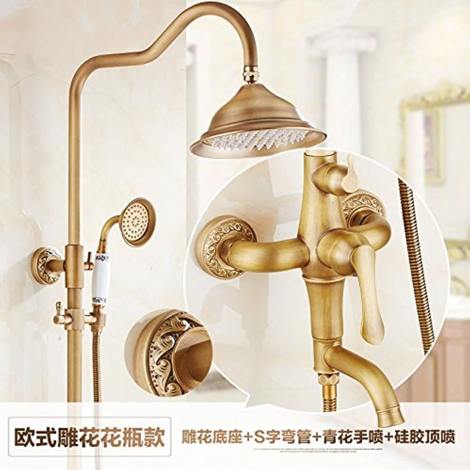 Hlluya Professional Sink Mixer Tap Kitchen Faucet Antique shower kit full copper Bathroom Wall mounted lift shower large shower bath faucet,I