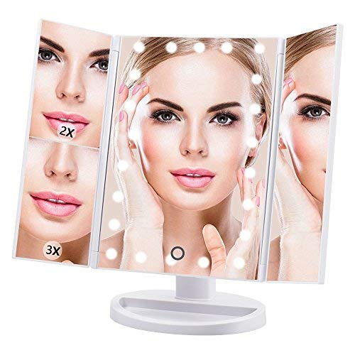 DreamGenius Makeup Mirror Vanity Mirror with Lights, 1X/2X/3X Magnification, 21 Led Lighted Mirror with Adjustable Touch Screen, 180 Degree Rotation, Portable Trifold Mirror