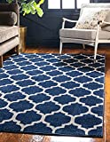Unique Loom Trellis Collection Modern Morroccan Inspired with Lattice Design Area Rug, 5' x 8', Navy Blue/Beige