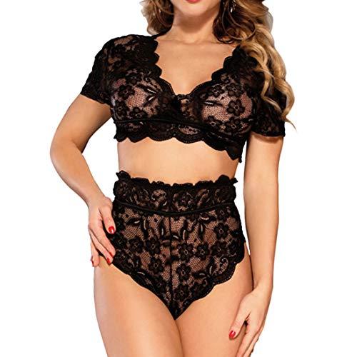 Damen Dessous Set Mode Sexy Bikini Halter Spitze BH Lingerie Kurzarm V-Ausschnit Unterwäsche Negligee String Reizwäsche Durchsichtige erotik Negligee Fantastische Retro nachtwäsche A-Black 3XL