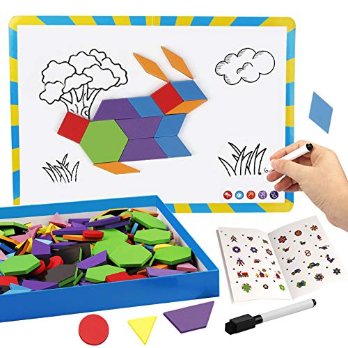 Vanmor 216PCS Magnetic Pattern Blocks Set with 298 Pattern Book & Magnet Board, Fridge Magnets Foam...