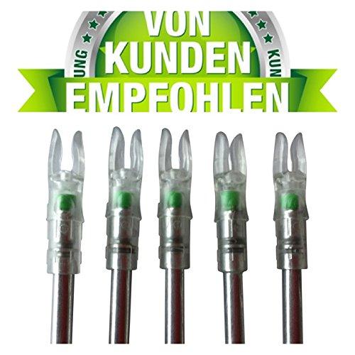 5x LED Leuchtnocken GRÜN - arrow noc - Nocken - Leuchnocken - Licht - Lumen - 6,3 mm - Nock - Carbon Pfeil - Armbrust - Comtpoundbogen - Pfeile - Pfeil und Bogen - Bogenschießen
